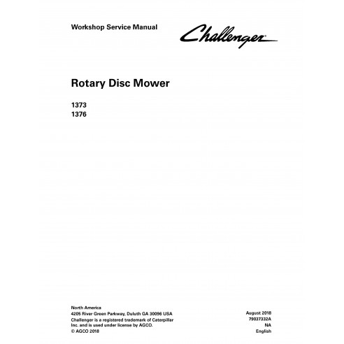 Challenger 1373, 1376 rotary disc mower pdf workshop service manual  - Challenger manuals