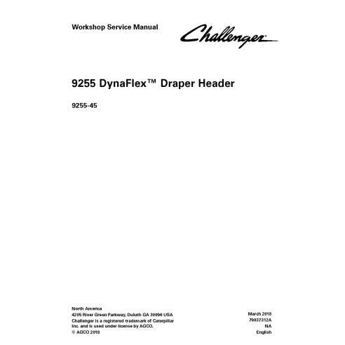 Challenger 9255 Draper Header Manuel de service d'atelier PDF - Challenger manuels
