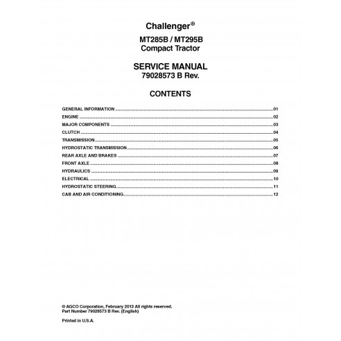 Challenger MT285B, MT295B compact tractor pdf service manual  - Challenger manuals