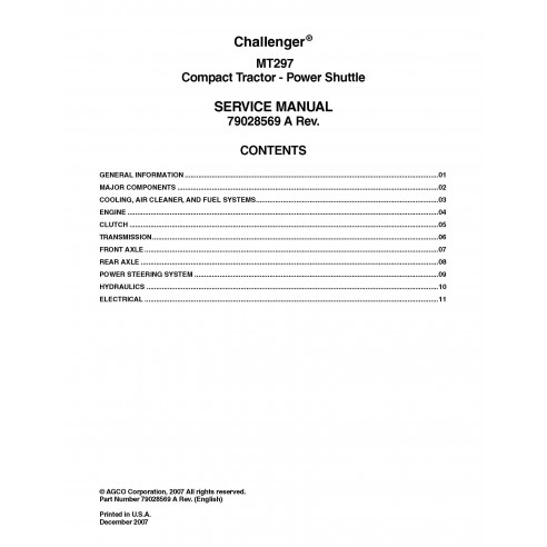 Challenger MT297 compact tractor pdf service manual  - Challenger manuals
