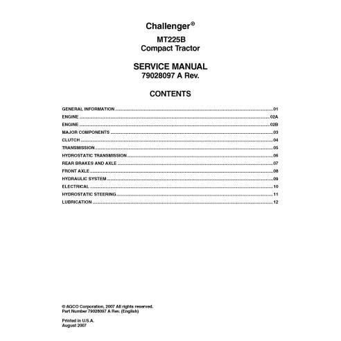 Manuel d'entretien PDF du tracteur compact Challenger MT225B - Challenger manuels