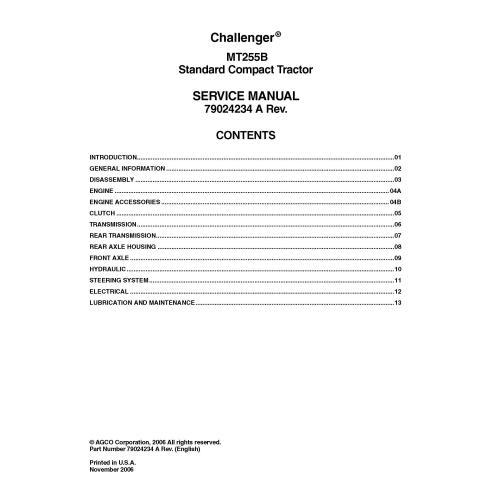 Challenger MT255B compact tractor pdf manual de servicio - Challenger manuales
