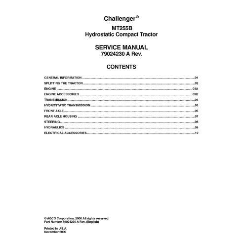 Manuel d'entretien PDF du tracteur compact Challenger MT255B - Challenger manuels