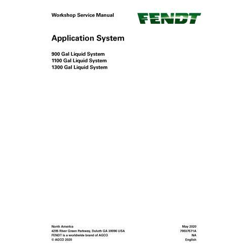 Fendt 900, 1100, 1300 Gal sistema de aplicação pdf manual de serviço da oficina - Fendt manuais