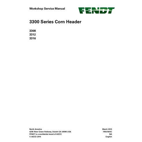 Fendt 3308, 3312, 3316 milho header pdf manual de serviço da oficina - Fendt manuais