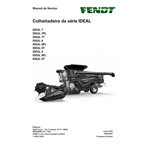 Fendt IDEAL SERIES 7/8/9 moissonneuse-batteuse PDF manuel d'entretien de l'atelier PT - Fendt manuels