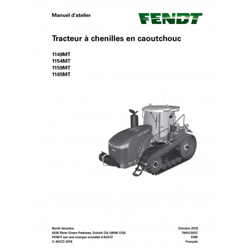 Fendt 1149MT, 1154MT, 1159MT, 1165MT trator com esteira de borracha pdf manual de serviço da oficina FR - Fendt manuais