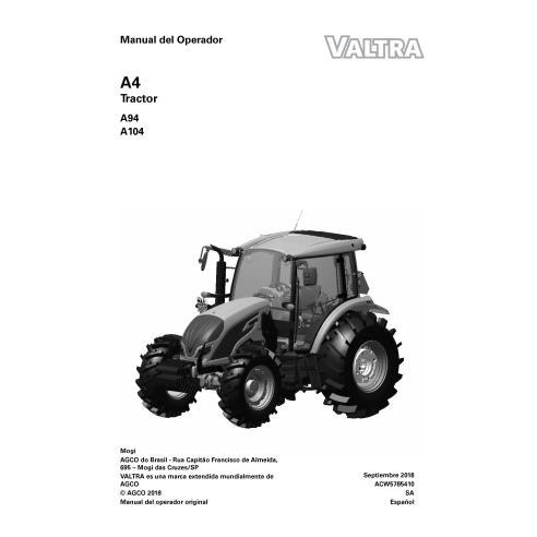 Manuel de l'opérateur PDF du tracteur Valtra A94, A104 ES - Valtra manuels