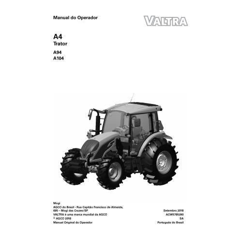 Valtra A94, A104 tractor pdf operator's manual PT - Valtra manuals
