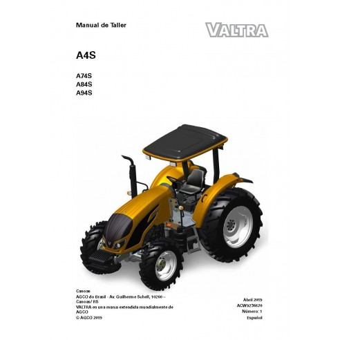 Valtra A74S, A84S, A94S tracteur manuel de service d'atelier pdf ES - Valtra manuels