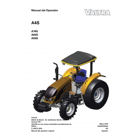 Valtra A74S, A84S, A94S tractor pdf manual del operador ES - Valtra manuales