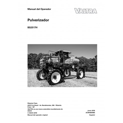 Manuel d'utilisation du pulvérisateur automoteur Valtra BS2517H PDF ES - Valtra manuels