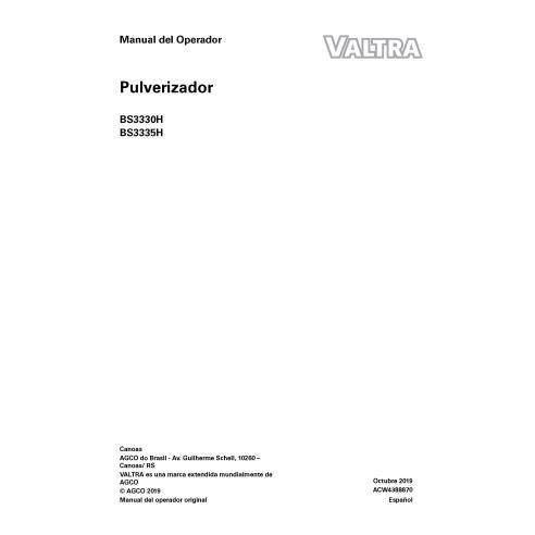 Pulvérisateur automoteur Valtra BS3330H, BS3335H pdf manuel de l'opérateur ES - Valtra manuels