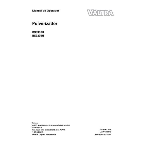 Valtra BS3330H, BS3335H pulverizador autopropelido manual do operador em pdf PT - Valtra manuais