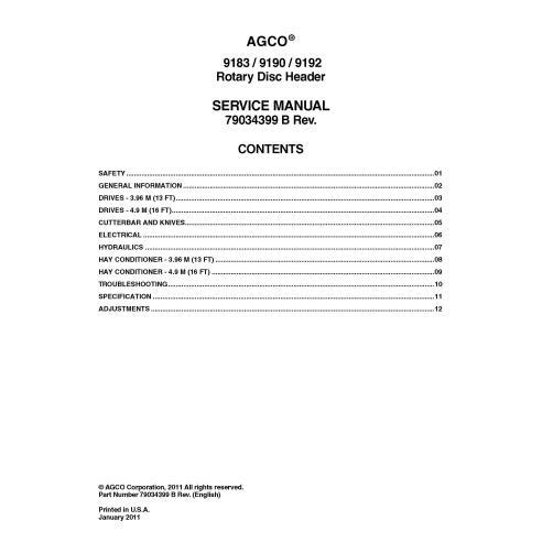 Massey Ferguson 9183, 9190, 9192 cabezal de disco rotativo pdf manual de servicio - Massey Ferguson manuales