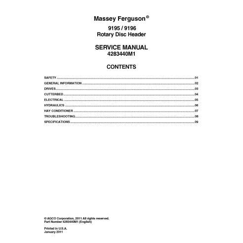 Manual de serviço em pdf do cabeçote de disco rotativo Massey Ferguson 9195, 9196 - Massey Ferguson manuais