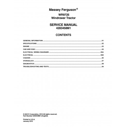 Massey Ferguson WR9725 self-propelled windrower pdf service manual  - Massey Ferguson manuals