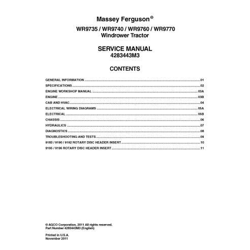 Massey Ferguson WR9725, WR9740, WR9760, WR9770 Manuel d'entretien pdf de l'andaineuse automotrice - Massey Ferguson manuels