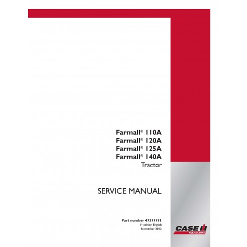 Manuel d'entretien du tracteur Case IH Farmall 110A, 120A, 125A, 140A PDF - Case IH manuels
