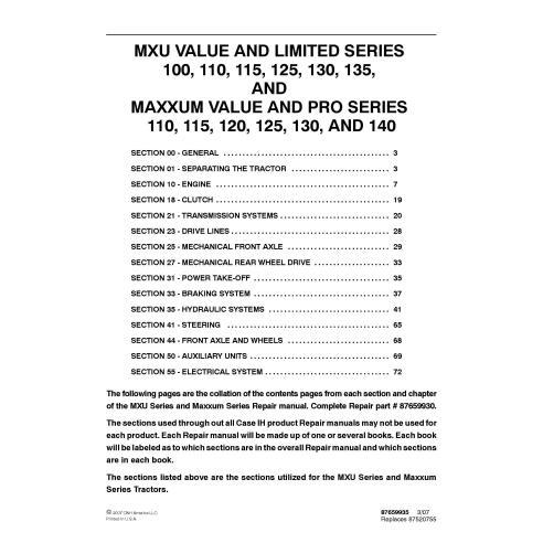 Case IH MXU 100 - 135, MAXXUM 110 - 140 tractor pdf repair manual  - Case IH manuals