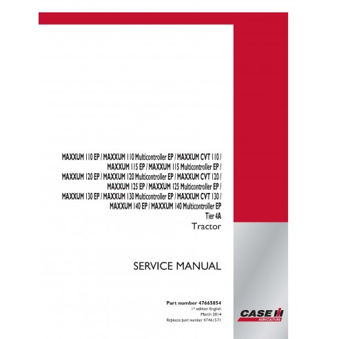 Case IH MAXXUM 110 EP, 120 EP, 130 EP, 140 EP CVT Tier 4a tractor pdf service manual  - Case IH manuals