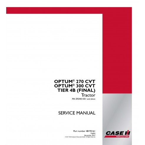 Manuel d'entretien du tracteur Case IH OPTUM 270 CVT, 300 CVT TIER 4B (FINAL) PDF - Case IH manuels