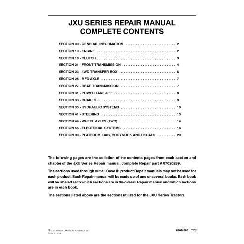 Manuel de réparation PDF du tracteur Case IH JX70U, JX80U, JX90U, JX100U - Case IH manuels
