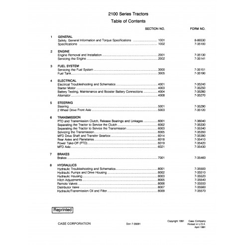 Manual de reparo pdf do trator Case IH 2120, 2130, 2140, 2150 - Case IH manuais