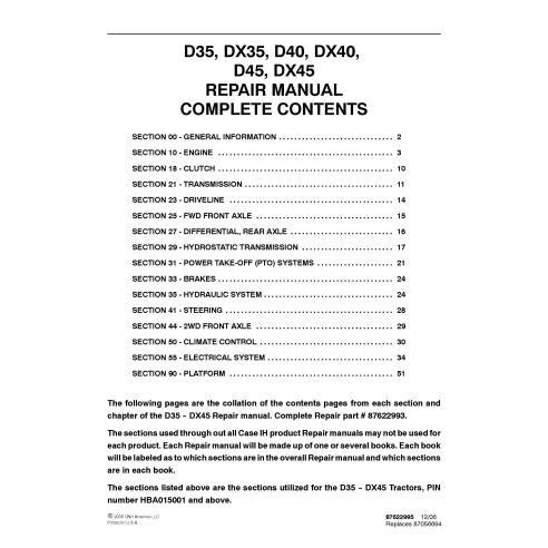 Manuel de réparation PDF du tracteur Case IH D35, DX35, D40, DX40, D45, DX45 - Case IH manuels