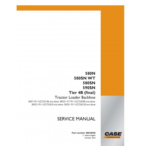 Case 580N, 580SN WT, 580SN, 590SN Tier 4B (2016) retroexcavadora manual de servicio pdf - Case manuales