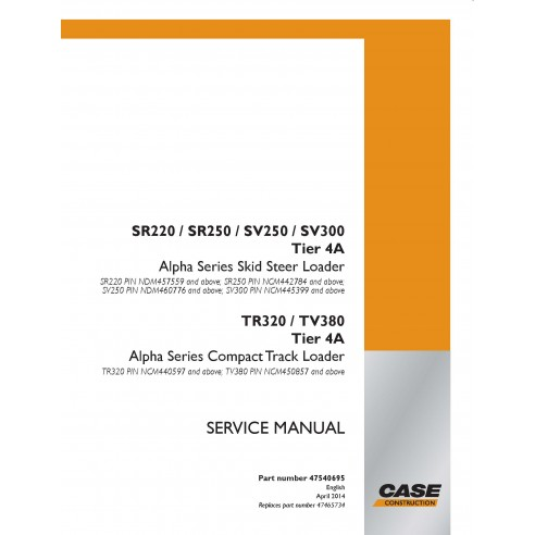 Case SR220, SR250, SV250, SV300, TR320, TV380 Tier 4A Skid Loader PDF Service Manual - Case manuels