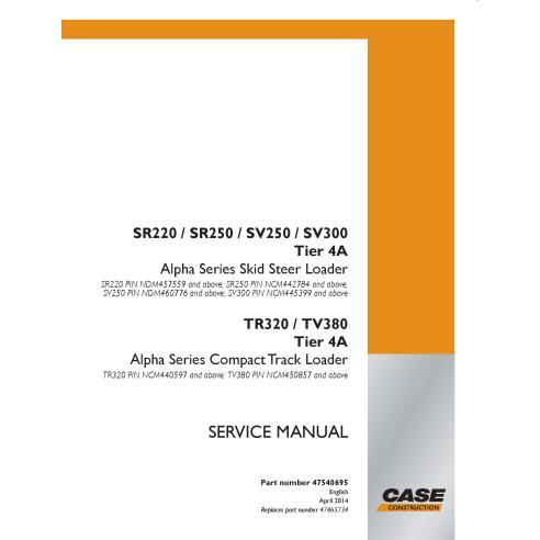 Manual de serviço em pdf do carregador de skid case SR220, SR250, SV250, SV300, TR320, TV380 Tier 4A - Case manuais