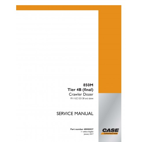 Manuel d'entretien PDF pour bulldozer sur chenilles Case 850M Tier 4B - Case manuels