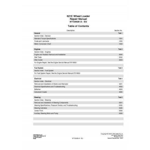 Manuel de réparation PDF du chargeur sur pneus Case 621E - Case manuels