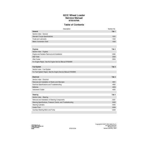 Manual de reparo em pdf de carregadeira de rodas Case 821E - Case manuais
