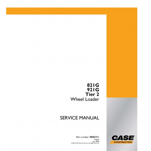 Manuel de service PDF pour chargeuse sur pneus Case 821G, 921G Tier 2 - Case manuels