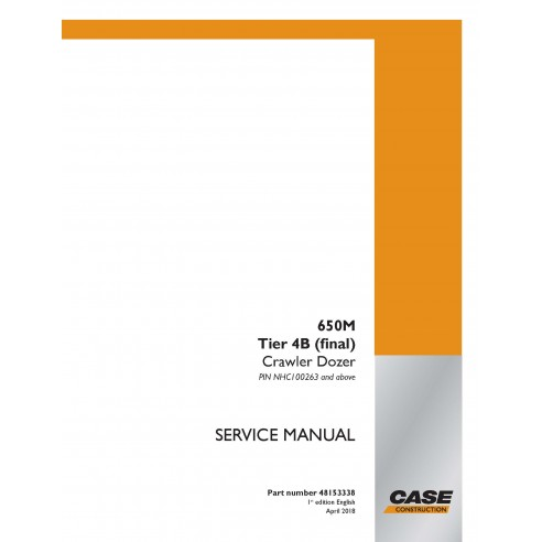 Manual de serviço em pdf Case 650M Tier 4B para trator de esteira - Case manuais