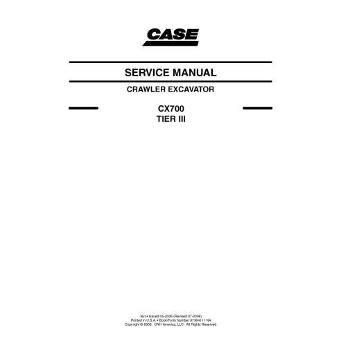 Manual de serviço em pdf da escavadeira sobre esteiras Case CX700 TIER III - Case manuais