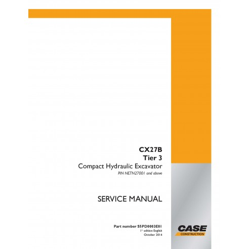 Case CX27B Tier 3 mini excavator pdf service manual  - Case manuals