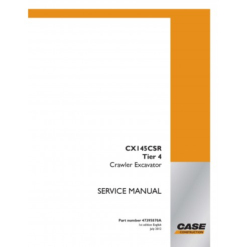 Manual de serviço em pdf da escavadeira de esteira Case CX145CSR Tier 4 - Case manuais