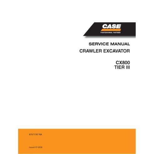 Excavadora de cadenas Case CX800 Tier 3 pdf manual de servicio - Case manuales