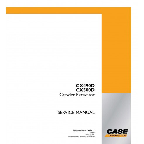 Manual de serviço em pdf da escavadeira de esteira Case CX490D, CX500D - Case manuais