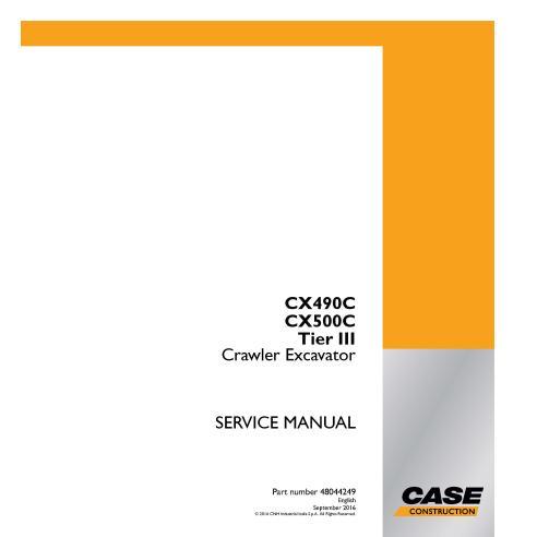 Manual de serviço em pdf da escavadeira de esteira Case CX490C, CX500C Tier III - Case manuais