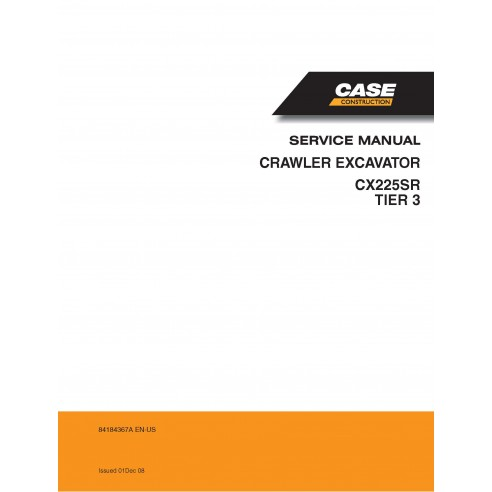 Case CX225SR Tier 3 crawler excavator pdf service manual  - Case manuals