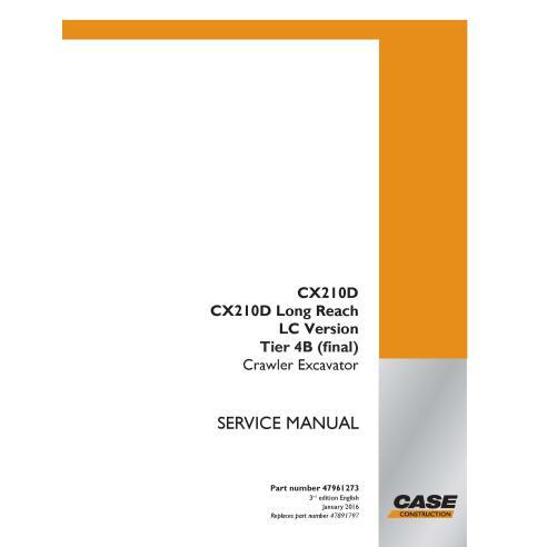 Case CX210D, CX210D Long Reach, LC Version Tier 4B excavadora de orugas manual de servicio pdf - Case manuales