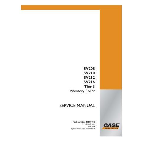 Case SV208, SV210l, SV212, SV216 Tier 3 rodillo vibratorio pdf manual de servicio - Case manuales