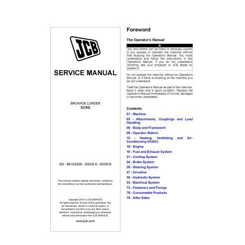 JCB 3CXG backhoe loader pdf service manual  - JCB manuals