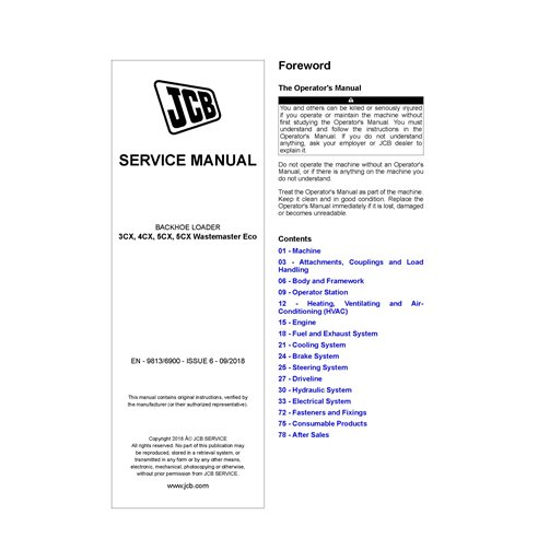 JCB 3CX, 4CX, 5CX, 5CX Wastemaster Eco backhoe loader pdf service manual  - JCB manuals