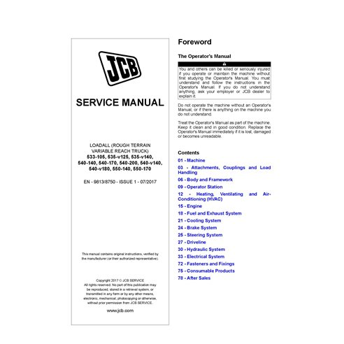 JCB 533, 535, 540, 550 loadall pdf service manual  - JCB manuals