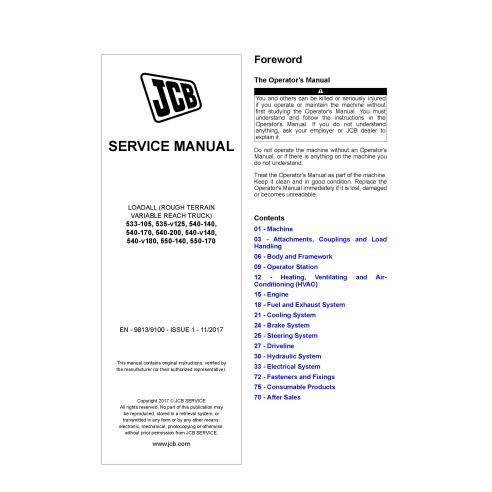 JCB 533, 535, 540, 550 issue 1 loadall pdf service manual  - JCB manuals